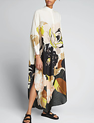 cheap -Women's Shirt Dress Maxi long Dress Photo Color Long Sleeve Solid Color Spring Summer Casual / Daily 2021 S M L XL XXL XXXL 4XL 5XL / Cotton / Cotton