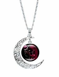 cheap -necklaces for women dainty crescent half moon 12 constellation sign charm chain pendant necklace jewelry gifts for girls