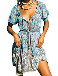 cheap -Women's A Line Dress Knee Length Dress As shown Short Sleeve Pattern Spring Summer Boho 2021 S M L XL XXL