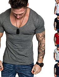 cheap -Men's T shirt Graphic Plus Size Pure Color Short Sleeve Daily Tops Cotton Basic White Black Red