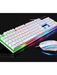 preiswerte -G21 LED Regenbogen Farbe Hintergrundbeleuchtung Gaming-Spiel USB verdrahtet Tastatur Maus Set Anti-Rutsch wasserdichte Regenbogen Farbe für Windows