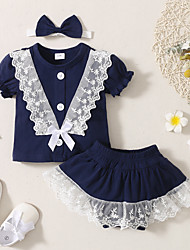 cheap -Baby Girls' Basic Solid Colored Short Sleeve Regular Clothing Set Blue