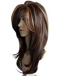 cheap -65 cm Female Straight Wig Synthetic Wavy Wigs Sexy Gradient Brown Party Wigs Long Curly Hair Mixed Colours Wig
