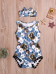 cheap -Baby Girls' Basic Floral Print Short Sleeves Romper Dusty Blue