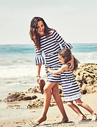 cheap -Mommy and Me Striped Lace Decor Round Neck Dresses