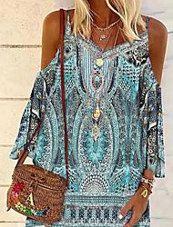 cheap -Women's A Line Dress Short Mini Dress Blue Sleeveless Pattern Print Spring Summer cold shoulder Casual / Daily Boho 2021 S M L XL XXL XXXL / Holiday