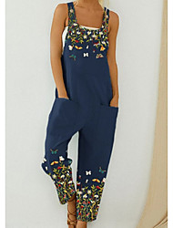 cheap -Women's Ordinary Off Shoulder Black Blue Jumpsuit Floral Solid Colored Animal Print