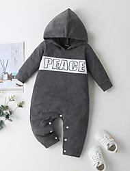 cheap -Baby Boys' Basic Print Long Sleeve Romper Gray