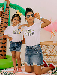 cheap -Tops Mommy and Me Graphic Print White Short Sleeve Above Knee Matching Outfits / Summer