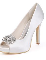 cheap -Women's Wedding Shoes Stiletto Heel Peep Toe Satin Rhinestone Solid Colored White Purple Red