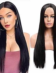 cheap -aligogo long straight black wig synthetic wigs for women natural middle part lace wig heat resistant fiber natural looking wig (30inch, 1b)