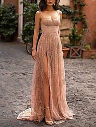 cheap -Women's Strap Dress Maxi long Dress Beige Sleeveless Solid Color Split Mesh Patchwork Spring Summer cold shoulder Party Elegant Formal Party 2021 S M L XL XXL