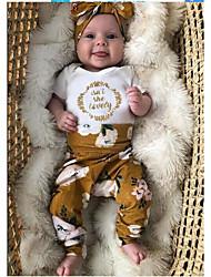 cheap -Baby Girls' Active Floral Print Short Sleeve Regular Regular Clothing Set White