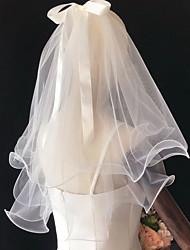 cheap -Three-tier Cute Wedding Veil Shoulder Veils with Satin Bow Polyester / Cotton / Drop Veil