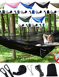 cheap -Camping Hammock with Mosquito Net Double Hammock Outdoor Portable Anti-Mosquito Ultra Light (UL) Foldable Breathable Parachute Nylon with Carabiners and Tree Straps for 2 person Hunting Fishing Hiking