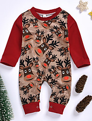 cheap -Baby Girls' Active Print Print Long Sleeve Romper Red