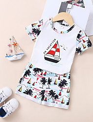 cheap -Baby Boys' Casual Print Short Sleeve Short Clothing Set White