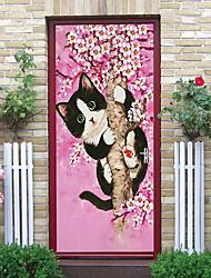"cheap -2pcs Self-adhesive Creative Tree Cat Door Stickers For Living Room Diy Decorative Home Waterproof Wall Stickers 30.3""x78.7""(77x200cm), 2 PCS Set"