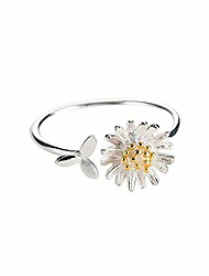 cheap -daisy flower cute leaf sterling silver engagement open toe rings dainty adjustable gold plated finger promise statement band sunflower ring jewelry gifts for birthday women girlfriend teen girls