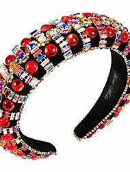 cheap -anglesjell rhinestone padded headbands bejewelled velvet headband for women bling crystal embellished thick wide headbands for bridal party(red crystal)