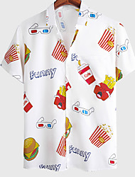 cheap -Men's Shirt Food Graphic Prints French fries Button-Down Short Sleeve Casual Tops Basic Fashion Breathable Comfortable White