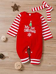 cheap -Baby Girls' Christmas Romper Basic Christmas Cotton Red Striped Print Long Sleeve / Summer