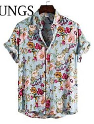cheap -men's casual shirts beach shirt men summer v-neck latest cool short sleeve flowe print hip hop loose 2021 fashion