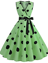 cheap -Audrey Hepburn Vintage Dress Women's Costume Yellow / Blue / Green Vintage Cosplay Homecoming Date Sleeveless A-Line