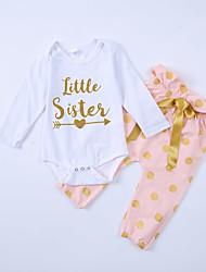 cheap -Baby Girls' Active Polka Dot Print Long Sleeve Regular Regular Clothing Set White
