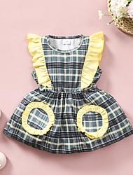 cheap -Baby Girls' Active Print Print Sleeveless Knee-length Dress Light Green