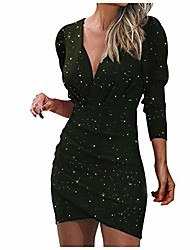 cheap -hotkey dresses for women party long sleeve sexy v-neck sequins wrap mini dress cocktail dress nightclub party dress green