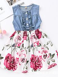 baratos -Infantil Pouco Para Meninas Vestido Floral Estampado Azul Azul Marinha Altura dos Joelhos Sem Manga Activo Vestidos Verão Normal 2-6 Anos