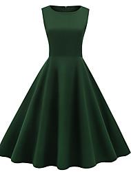 cheap -Audrey Hepburn Polka Dots 1950s Vintage Vacation Dress Dress Rockabilly Prom Dress Women's Costume Black / Green / Navy Blue Vintage Cosplay Homecoming Prom Sleeveless Knee Length