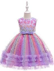 cheap -Ball Gown Knee Length Flower Girl Dresses Wedding Tulle Sleeveless Jewel Neck with Heart
