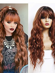 cheap -Brown Wig With Bangs Natural Wave Wig With Bangs Honey Brown Wig Suitable For Women's Deep-rooted Brown Wig Synthetic Long Wavy Loose Curly Hair Wig Heat-resistant Fiber 22 Inch Brown Wig