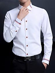 cheap -Men's Shirt non-printing Striped Long Sleeve Casual Tops Basic Casual White Blue Blushing Pink