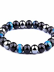 cheap -armony protection bracelet, new french brand, natural stone, 10 mm bead, triple protection tiger's eye blue or pink obsidian black and haematite ★ velvet pouch provided ★ bright blue