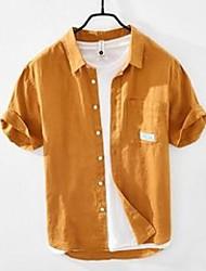preiswerte -Herren Freizeithemden 3023 Sommer Herren Leinenhemd Bluse japanische einfache einfarbige kurzärmelige lose quadratische Kragen Jugend männliche Tops T-Shirts