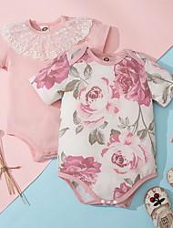cheap -Baby Girls' Basic Floral Print Short Sleeves Romper White Blushing Pink