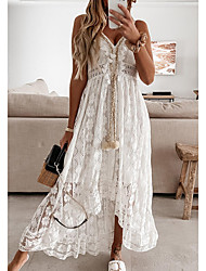 cheap -Women's Swing Dress Maxi long Dress White Beige Sleeveless Print Embroidered Lace Spring Summer V Neck Casual Holiday Boho Beach Lace 2021 S M L XL XXL