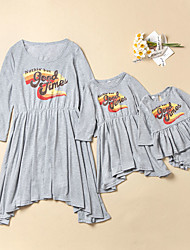 cheap -Dresses Mommy and Me Letter Gray Long Sleeve Above Knee Matching Outfits