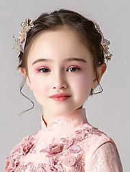 economico -gioielli per bambine per bambini copricapo di fiori dorati accessori per prestazioni per ragazze accessori per capelli per abiti da sposa con fiori di bowknot