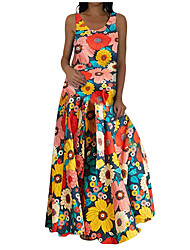 cheap -xe939#cross-border foreign trade ebay europe and the united states summer sleeveless floral print summer open back women's dress long dress