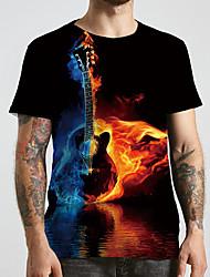 cheap -Men's Unisex Tee T shirt 3D Print Graphic Prints Guitar Plus Size Print Short Sleeve Casual Tops Basic Designer Big and Tall Black