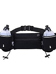 cheap -slub running belt,hydration waist pack with two water bottle holder,adjustable straps waist bag,complete with number fixed rope running waist belt(black)