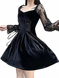 cheap -black lace-up gothic lolita long lace petal sleeve dress classic goth suede dresses
