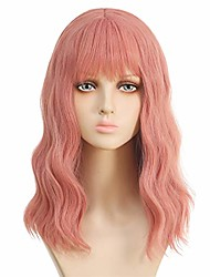 cheap -halloweencostumes Pink Wig Technoblade Cosplay pink wigs with air bangs women short wave shoulder length pastel bob synthetic cosplay girl wig halloweenwig costume