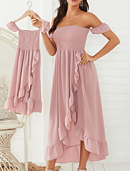 baratos -vestidos com babados rosa / branco / preto com babados fora do ombro para mamãe e eu