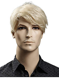 cheap -Short Blonde Male Synthetic Wigs American European 6 Inch Straight Men Wig with Free Hair Cap Heat Resistant Toupee Hair