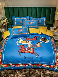 cheap -Duvet Cover Sets 4 Piece  Bohemian style European fashionable flat sheet Pillowcase  Blue Horse GIFE